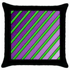 Purple And Green Lines Throw Pillow Case (black) by Valentinaart