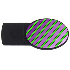 Purple And Green Lines Usb Flash Drive Oval (2 Gb)  by Valentinaart