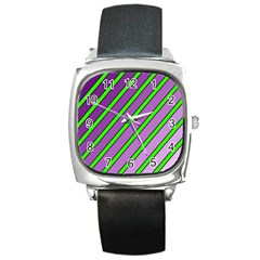 Purple And Green Lines Square Metal Watch by Valentinaart