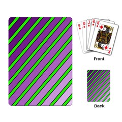 Purple And Green Lines Playing Card by Valentinaart