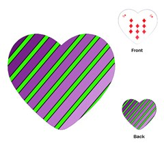 Purple And Green Lines Playing Cards (heart)