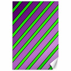 Purple And Green Lines Canvas 24  X 36  by Valentinaart