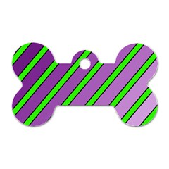 Purple And Green Lines Dog Tag Bone (two Sides) by Valentinaart