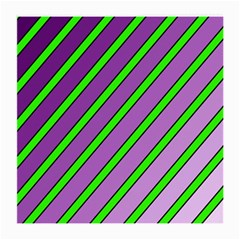 Purple And Green Lines Medium Glasses Cloth by Valentinaart