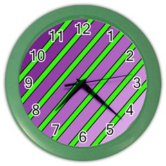 Purple And Green Lines Color Wall Clocks by Valentinaart