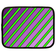 Purple And Green Lines Netbook Case (xl)  by Valentinaart