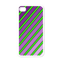 Purple And Green Lines Apple Iphone 4 Case (white) by Valentinaart