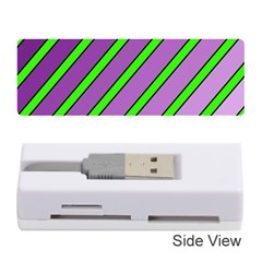 Purple And Green Lines Memory Card Reader (stick)  by Valentinaart