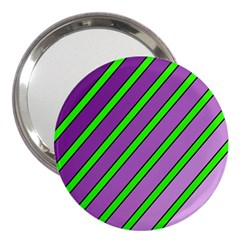 Purple And Green Lines 3  Handbag Mirrors by Valentinaart