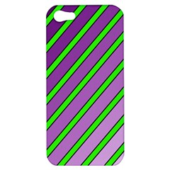 Purple And Green Lines Apple Iphone 5 Hardshell Case by Valentinaart