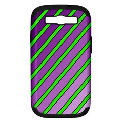 Purple And Green Lines Samsung Galaxy S Iii Hardshell Case (pc+silicone) by Valentinaart