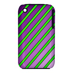 Purple And Green Lines Apple Iphone 3g/3gs Hardshell Case (pc+silicone) by Valentinaart