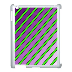 Purple And Green Lines Apple Ipad 3/4 Case (white) by Valentinaart