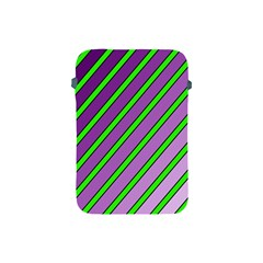 Purple And Green Lines Apple Ipad Mini Protective Soft Cases by Valentinaart