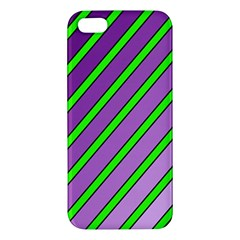 Purple And Green Lines Iphone 5s/ Se Premium Hardshell Case by Valentinaart