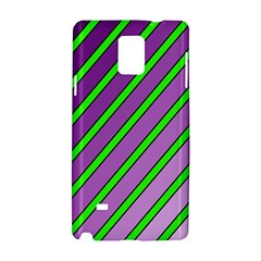 Purple And Green Lines Samsung Galaxy Note 4 Hardshell Case by Valentinaart