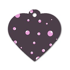 Pink Bubbles Dog Tag Heart (two Sides) by Valentinaart