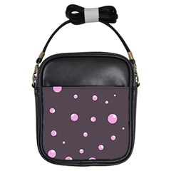 Pink Bubbles Girls Sling Bags by Valentinaart