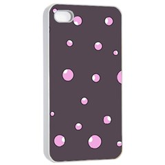 Pink Bubbles Apple Iphone 4/4s Seamless Case (white) by Valentinaart