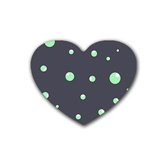 Green Bubbles Rubber Coaster (heart)  by Valentinaart