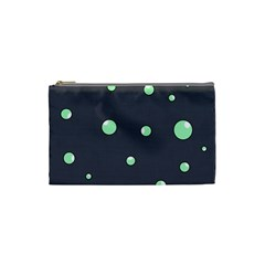 Green Bubbles Cosmetic Bag (small)  by Valentinaart