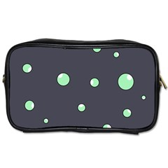 Green Bubbles Toiletries Bags by Valentinaart