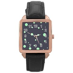 Green Bubbles Rose Gold Leather Watch  by Valentinaart