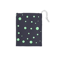 Green Bubbles Drawstring Pouches (small)  by Valentinaart