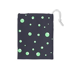 Green Bubbles Drawstring Pouches (medium)  by Valentinaart