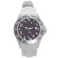 Blue Bubbles Round Plastic Sport Watch (l) by Valentinaart