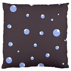 Blue Bubbles Large Cushion Case (one Side) by Valentinaart