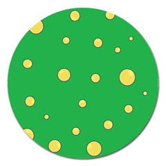Yellow Bubbles Magnet 5  (round) by Valentinaart
