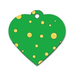 Yellow Bubbles Dog Tag Heart (one Side) by Valentinaart