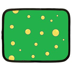 Yellow Bubbles Netbook Case (large) by Valentinaart
