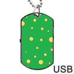 Yellow Bubbles Dog Tag Usb Flash (two Sides)  by Valentinaart