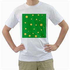 Yellow Bubbles Men s T-shirt (white)  by Valentinaart
