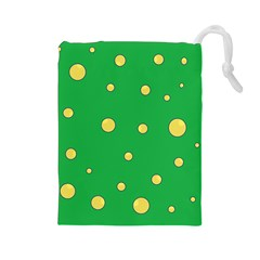 Yellow Bubbles Drawstring Pouches (large)  by Valentinaart