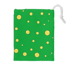 Yellow Bubbles Drawstring Pouches (extra Large) by Valentinaart
