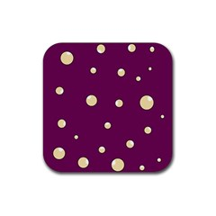 Purple And Yellow Bubbles Rubber Coaster (square)  by Valentinaart