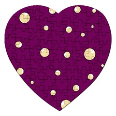 Purple And Yellow Bubbles Jigsaw Puzzle (heart) by Valentinaart