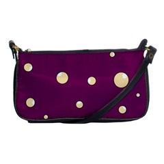 Purple And Yellow Bubbles Shoulder Clutch Bags by Valentinaart