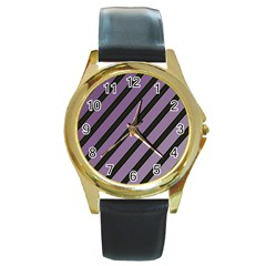 Purple Elegant Lines Round Gold Metal Watch by Valentinaart