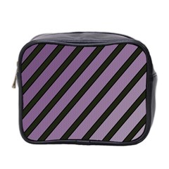 Purple Elegant Lines Mini Toiletries Bag 2 Side