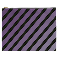 Purple Elegant Lines Cosmetic Bag (xxxl)  by Valentinaart