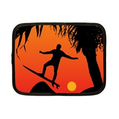 Man Surfing At Sunset Graphic Illustration Netbook Case (small)  by dflcprints