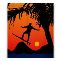 Man Surfing At Sunset Graphic Illustration Shower Curtain 66  X 72  (large)  by dflcprints