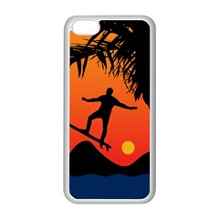 Man Surfing At Sunset Graphic Illustration Apple Iphone 5c Seamless Case (white) by dflcprints