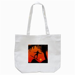 Man Surfing At Sunset Graphic Illustration Tote Bag (white) by dflcprints