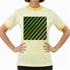 Green Elegant Lines Women s Fitted Ringer T Shirts