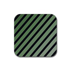 Green Elegant Lines Rubber Square Coaster (4 Pack)  by Valentinaart